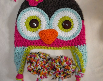 baby hat, owl hat, crochet kids hat, crochet baby hat, baby girl hat, girls owl hat
