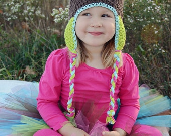 crochet owl hat, custom colors, crochet kids hat, crochet baby hat