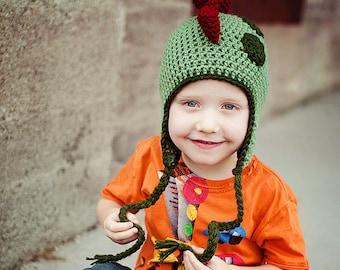 Crochet Rawrasaurus Dinosaur Hat 2T-4T or 5-10 Yrs