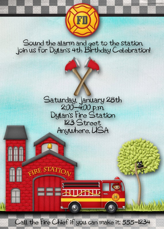 fireman firefighter fire station birthday party invitation