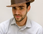 Panama Straw Fedora Hat/Mens/hand blocked