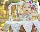 Tickle my fancy headband made to match Lottie Da Baby's Vintage Parisville dress.