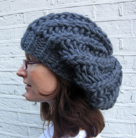 RESERVED for Andrew: Slouchy chunky rib hat in a black Peruvian alpaca/wool