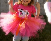 Pink and Orange Tutu with Flower. Sorbet Tutu Birthday Tutu. Birthday tutu. Fairy Tutu. Ballet Recital Tutus.