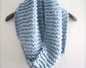 Light Blue Infinity Scarf. Soft Wool Blend Scarf. Winter Scarf. Hand Knitted Infinity Scarf. Powder Blue Infinity Scarf.