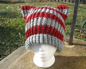 Grey and Crimson Striped Knit Cat Hat - All sizes from Baby to Large Adult - Custom Colors Available