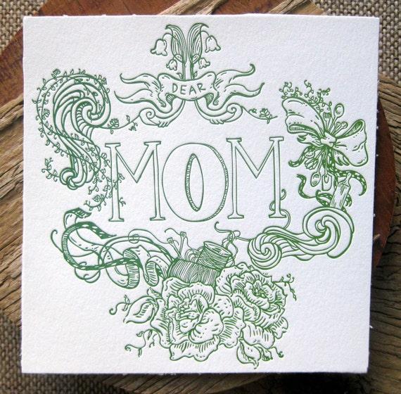 Dear Mom - Spring Green & White Letterpress POSTCARD