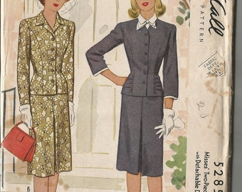 Vintage 1940's Two Piece Dress or Suit Pattern McCall 5285 36 Bust