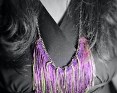 Chainette Fringe Bib Necklace, Reversible, Purple & Chartreuse Green - Unique Jewelry for a Unique You