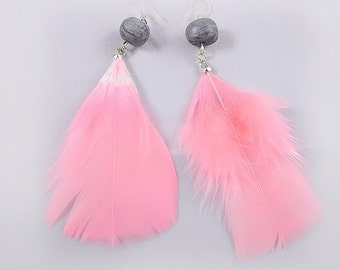 Pink Feather Earrings - Handmade Polymer Clay Beads, Sterling Silver Hooks - Unique Jewelry for a Unique You
