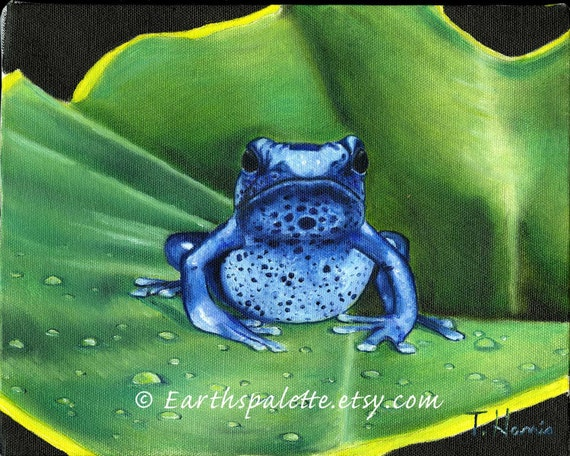 Blue frog painting, 8x10 print from original oil painting, amphibian, wildlife painting, rustic, cabin decor, wall art earthspalette