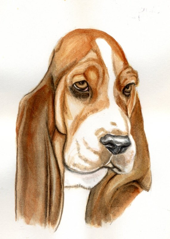 Bassett hound dog painting 5x7 print from original watercolor painting dog portrait pets home decor wall art earthspalette