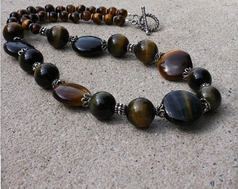 Tigereye and Bali Sterling Silver Necklace 3595