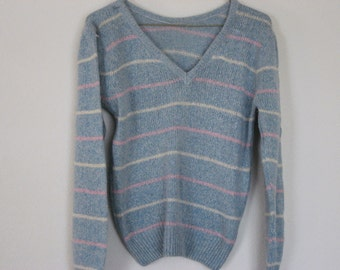 Vintage angora, silk, nylon blend blue striped sweater.  Smoke free home.