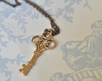 skeleton key necklace, golden bronze key necklace, key necklace, key to my heart necklace, golden key necklace, key jewelry necklace