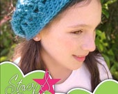 Slouch beanie crochet PDF pattern for girls - INSTANT DOWNLOAD.
