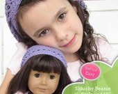 Slouch beanie PDF crochet pattern for girls and 18 inch dolls like American girl - INSTANT DOWNLOAD.