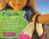Beach Tote with vinyl handles crochet PDF pattern for 18 inch dolls like American Girl.
