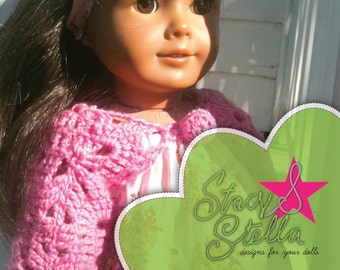 "Crochet Shrug PDF Pattern for 18"" inch Dolls like American Girl"