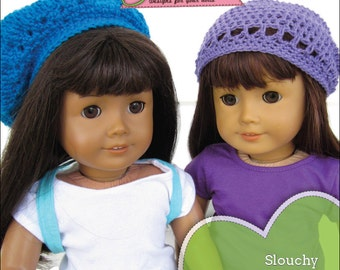 Slouchy beanie and beret crochet PDF pattern for 18 inch dolls like American Girl INSTANT DOWNLOAD.