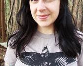 Wolfpups Raven T-Shirt / Organic Hand Printed American Apparel / Womens L