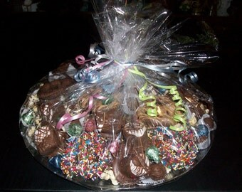 Assorted Hand Dipped Chocolate Candy Handmade Party Tray Platter Centerpiece
