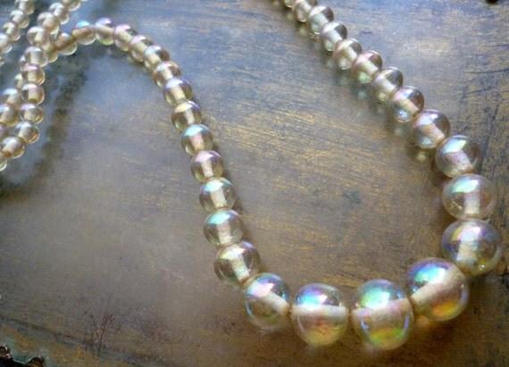 20% Off Sale Vintage Amber Topaz Yellow Beads Aurora Borealis Round Glass Strand