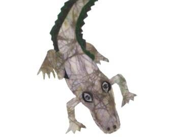 Batik Fabric Collart Art A is for Alligator Art for Children