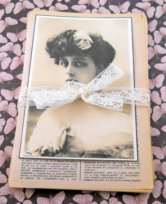 Vintage Dictionary  Pages, Set of 50 with Lace Seam Binding and Glamorous Lady Picture