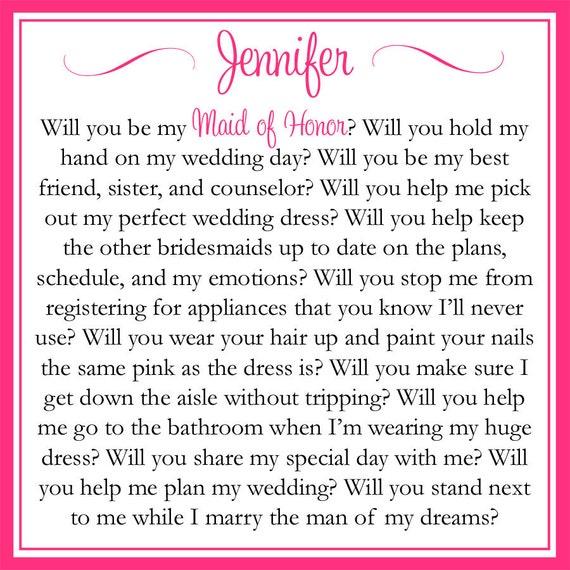 Custom Printable Will You Be My Maid of Honor Card Digital File