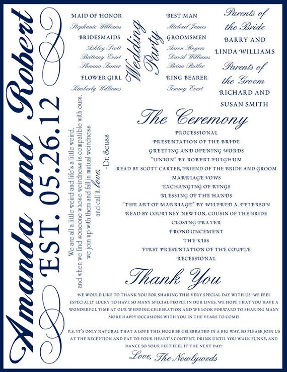 Custom Printable Wedding Program Digital File