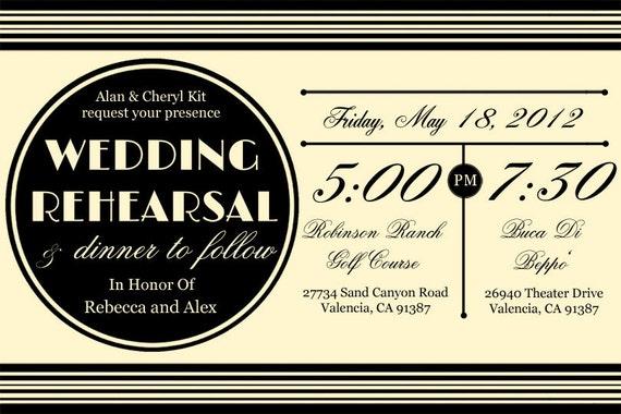Custom Printable Vintage Wedding Rehearsal Dinner Invitation Digital File