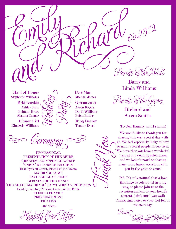 Custom printable wedding program digital file for Downloadable wedding programs