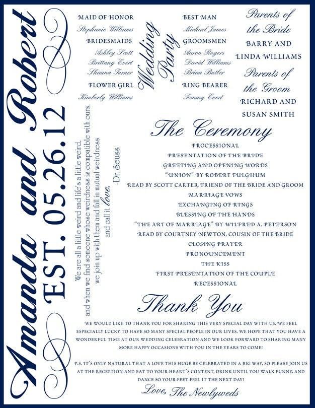 Custom Printable Wedding Program Digital File