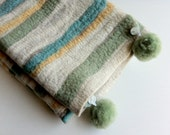 Baby Rug Handmade: Merino Wool Organic Stripes & Pom-Poms - Luxury Soft Furnishing for  Nursery-Boy or Girl-'Down to Earth-Aquamarine Dream' - MerinoAngel