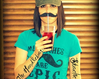 36 Mustaches on a Straw- The Handlebar- Little Man Party- Mustache Straws- Handlebar Mustache Straws- Mustache Party