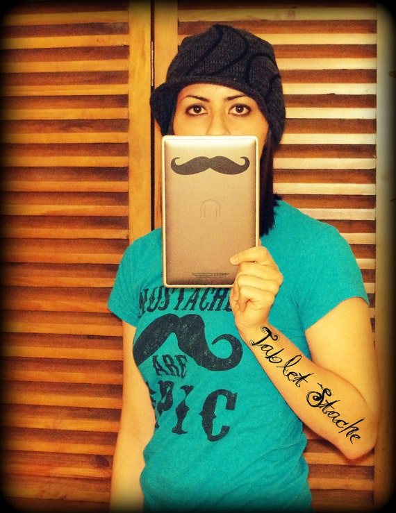 Mustache Decal-Mustache sticker-Vinyl decal-The Handlebar-For your Tablet or Nook- Black-Little Man Party-Mustache Theme