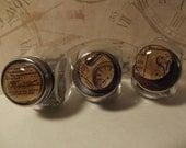 vintage ads pattern glass magnets.  set of three.  MO603/AJ31