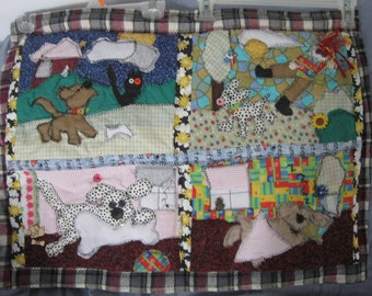 27x21 Whacked out wall hanging quilt, Another Day in the Life of A Dog