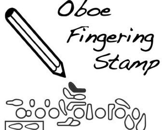 Oboe Fingering Rubber Stamp -     ( Loree, Fox, Buffet, Reed, Music)