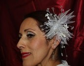 Wedding Bridal Headpiece & glass beads earrings  to match, white flower, silver, 25th anniversary, party, bridesmaids