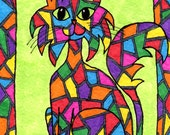 ACEO Giclee Art PRINT, Colorful Mosaic Stained Glass Cat on Green with Border by Debbie Hart, Signed Open Edition ATC Card, 2.5 x 3.5 inches