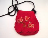 Felted bag Red Flower for girl or women - autumn fall fashion - made to order