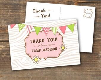 Thank You Postcard - Camp Theme Printable