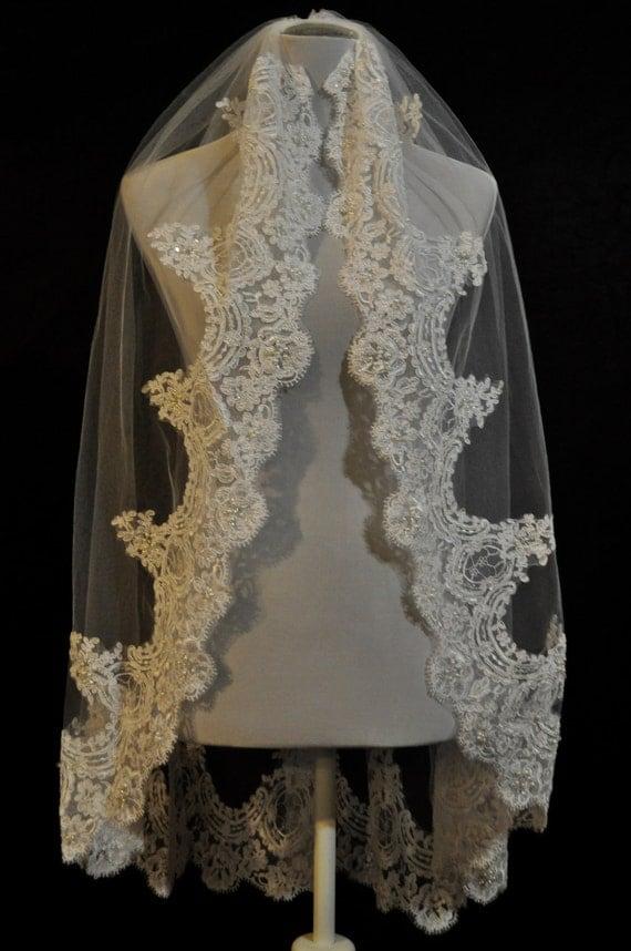 Ivory Fingertip Lace Wedding Veil with Real Swarovski Crystals - Best Seller
