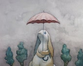 Postcard - Scattered Showers - Cute little bunny with an umbrella on a rainy day-  postcard art print of a watercolor painting