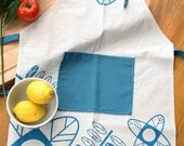 Cook APRONS - Unbleached cotton  apron handprinted with flowers and leaves design. Modern kitchen apron