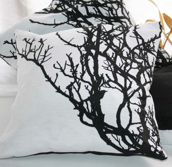 Black and white CUSHION tree branch screenprinted - Hand printed PILLOW CASE