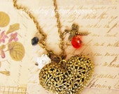 Garden of love - a vintage heart flower necklace