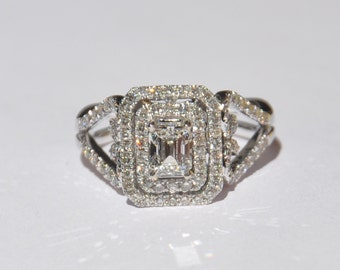 GIA Certified 1.37 Carat Diamond Engagement Ring 14kt Solid Gold W/ GIA Laser Inscription